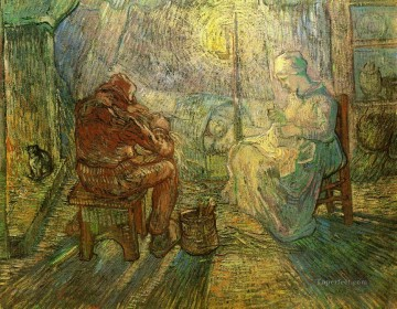 Evening The Watch after Millet Vincent van Gogh Oil Paintings