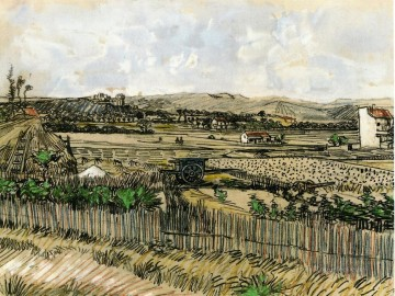 left Canvas - Harvest in Provence at the Left Montmajour Vincent van Gogh