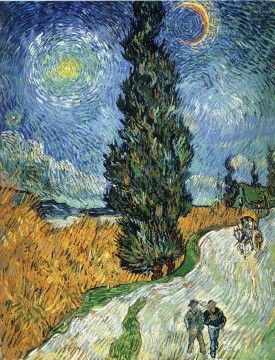 Vincent Van Gogh Painting - Road with Cypresses Vincent van Gogh