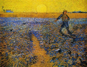 Sower with Setting Sun after Millet Vincent van Gogh Oil Paintings