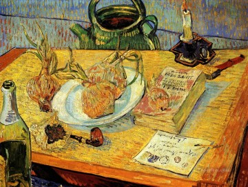 Vincent Van Gogh Painting - Still Life with Drawing Board Pipe Onions and Sealing Wax Vincent van Gogh