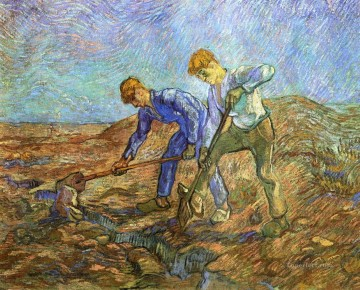 Vincent Van Gogh Painting - Two Peasants Diging after Millet Vincent van Gogh