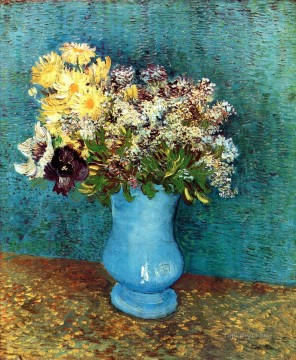 Vase with Flieder Margerites und Anemones Vincent van Gogh Oil Paintings