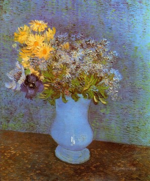 Vincent Van Gogh Painting - Vase with Lilacs Daisies and Anemones Vincent van Gogh