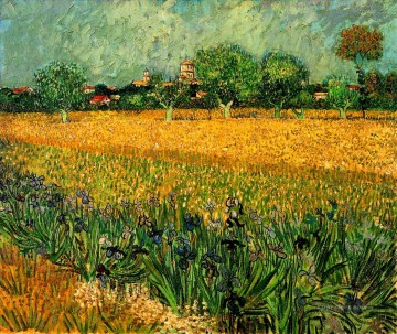 View of Arles with Irises in the Foreground Vincent van Gogh Oil Paintings