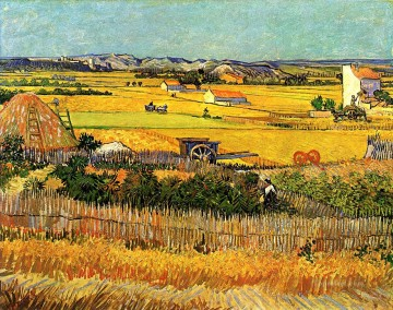 Harvest at La Crau with Montmajour in the Background Vincent van Gogh