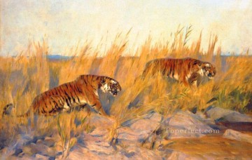 Arthur Wardle Painting - Tigers Arthur Wardle