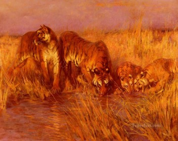 Arthur Wardle Painting - The Tiger Pool Arthur Wardle