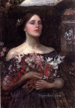 Rose Art - Gather ye rosebuds study JW Greek female John William Waterhouse