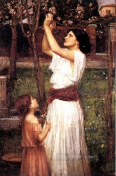 blossom Painting - Gathering almond blossoms JW Greek female John William Waterhouse