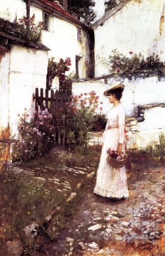 Summer Art - Gathering summer flowers in a devonshire garden JW Greek female John William Waterhouse