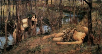 A Naiad or Hylas with a Nymph John William Waterhous Oil Paintings