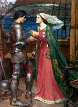 william art painting - Tristan and Isolde Sharing the Potion Greek female John William Waterhouse
