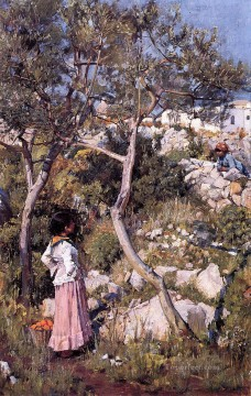 Girls Canvas - Two Little Italian Girls by a Village Greek John William Waterhouse
