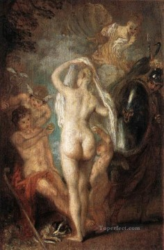Paris Painting - The Judgement of Paris nude Jean Antoine Watteau
