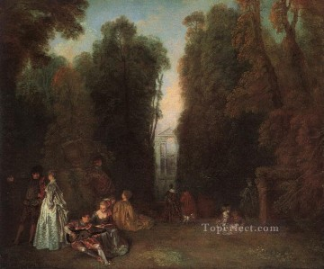 Watteau Canvas - ViewThrough the Trees in the Park of Pierre Crozat Jean Antoine Watteau