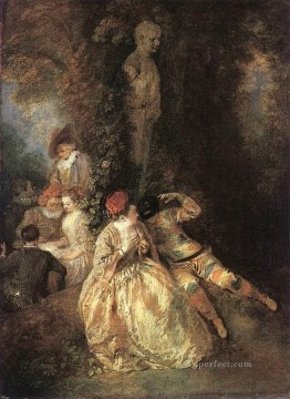 Harlequin and Columbine Jean Antoine Watteau Oil Paintings