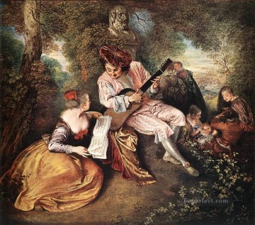 Watteau Canvas - La gamme damour The Love Song Jean Antoine Watteau