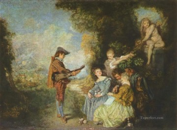 Antoine Watteau Painting - the lesson of love Jean Antoine Watteau