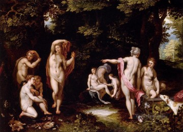 Jan Canvas - Brueghel Jan Diana And Actaeon nude Jean Antoine Watteau