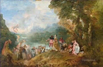 Antoine Watteau Painting - The Embarkation for Cythera Jean Antoine Watteau