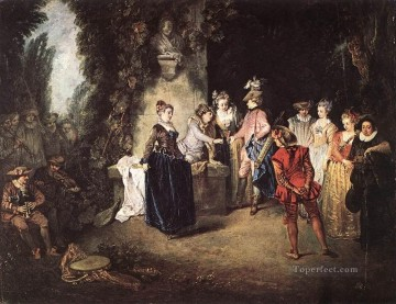 Watteau Canvas - The French Comedy Jean Antoine Watteau