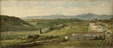farm Works - Panoramic Landscape with a Farmhouse symbolist George Frederic Watts