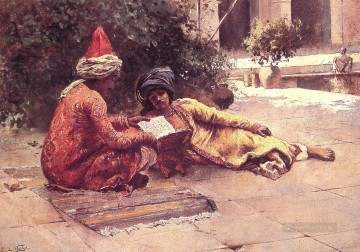 Persian Painting - Two Arabs Reading in a Courtyard Persian Egyptian Indian Edwin Lord Weeks