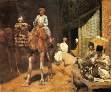 Persian Painting - A Marketplace In Ispahan Persian Egyptian Indian Edwin Lord Weeks