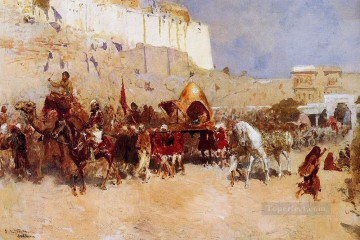 Persian Painting - Wedding Procession Jodhpur Persian Egyptian Indian Edwin Lord Weeks