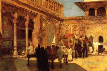 Persian Painting - Elephants and Figures in a Courtyard Fort Agra Persian Egyptian Indian Edwin Lord Weeks