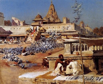 Persian Painting - Feeding The Sacred Pigeons Jaipur Persian Egyptian Indian Edwin Lord Weeks