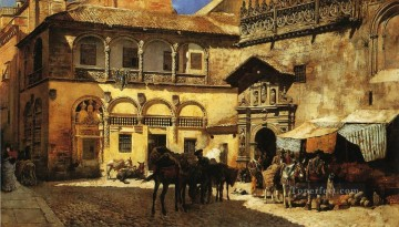 Persian Painting - Market Square in Front of the Sacristy and Doorway of the Cathedral Granada Persian Egyptian Indian Edwin Lord Weeks