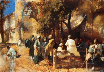 Persian Painting - A Persian Cafe Persian Egyptian Indian Edwin Lord Weeks