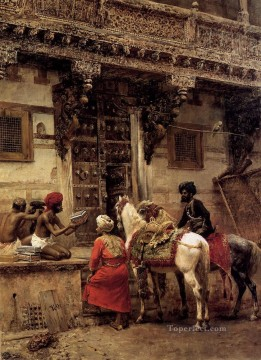 Persian Painting - Craftsman Selling Cases By A Teak Wood Building Ahmedabad Persian Egyptian Indian Edwin Lord Weeks
