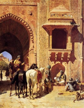 Persian Painting - Gate Of The Fortress At Agra India Persian Egyptian Indian Edwin Lord Weeks