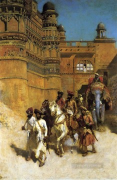 Persian Painting - The Maharahaj of Gwalior Before His Palace Persian Egyptian Indian Edwin Lord Weeks
