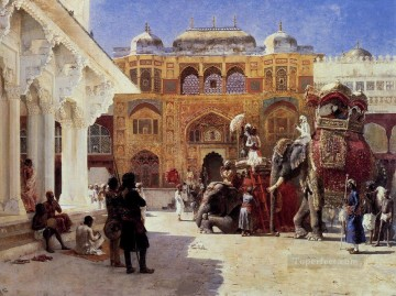 Persian Painting - Arrival Of Prince Humbert The Rajah At The Palace Of Amber Persian Egyptian Indian Edwin Lord Weeks