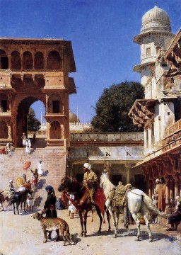 Persian Painting - Departure For The Hunt Persian Egyptian Indian Edwin Lord Weeks