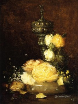 Silver Painting - Silver Chalice with Roses impressionist still life Julian Alden Weir