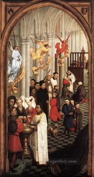 left Canvas - Seven Sacraments left wing Rogier van der Weyden