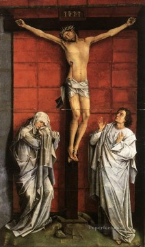 Christ Art - Christus on the Cross with Mary and St John Rogier van der Weyden