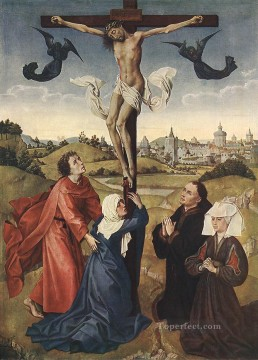 crucifixion Painting - Crucifixion Triptych central panel Rogier van der Weyden