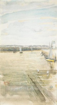 MC Oil Painting - James Abbott McNeill Scene On The Mersey James Abbott McNeill Whistler
