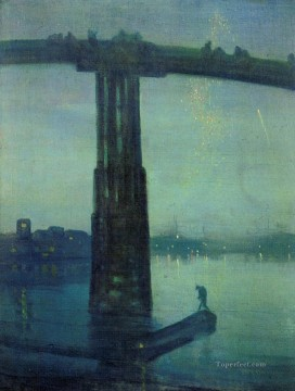 MC Oil Painting - James McNeill Nocturne in blue and green James Abbott McNeill Whistler