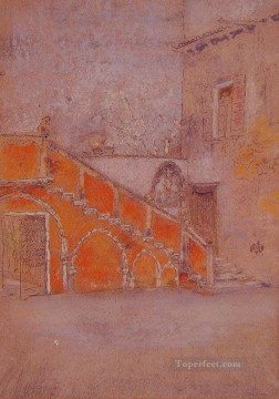 The Staircase Note in Red James Abbott McNeill Whistler Oil Paintings