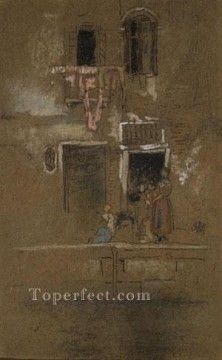 Row Painting - James Abbott McNeill Note In Pink And Brown James Abbott McNeill Whistler