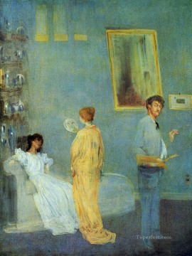 Artists Oil Painting - The Artists Studio James Abbott McNeill Whistler