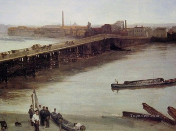 Row Painting - Brown and Silver Old Battersea Bridge James Abbott McNeill Whistler