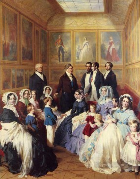Franz Xaver Winterhalter Painting - Queen Victoria and Prince Albert with the Family of King Louis Philippe Franz Xaver Winterhalter